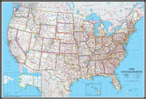 Swiftmaps 24x36 United States 24x36 Folded USA US Executive Wall Map Poster Mural
