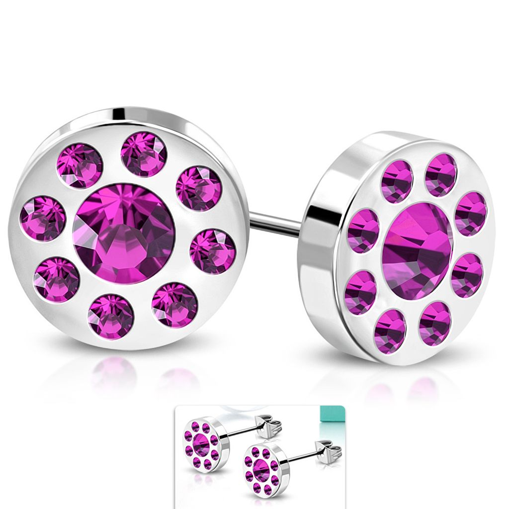 10mm Stainless Steel Burnish Set Round Circle Stud Earrings with Purple CZ pair