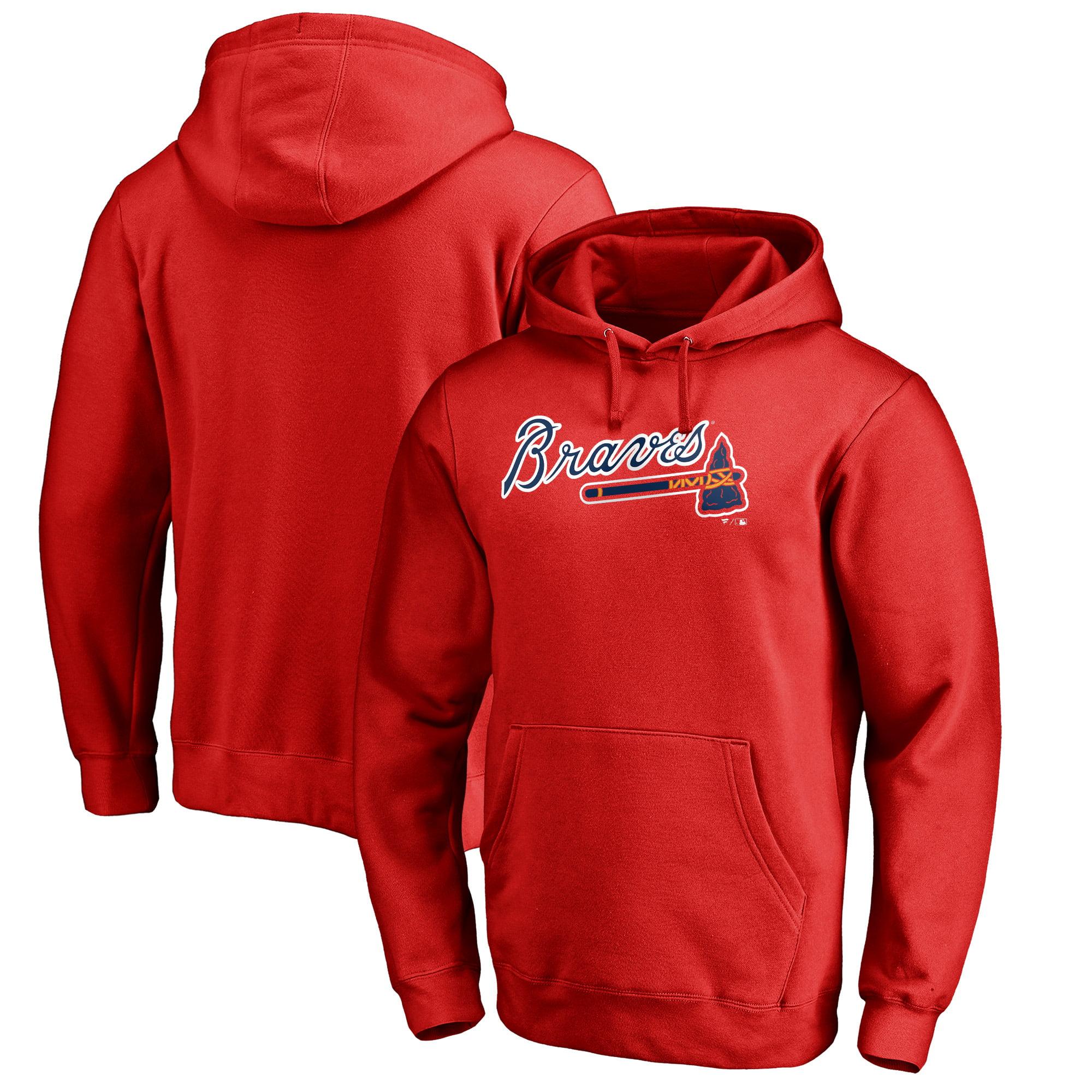 Atlanta Braves Fanatics Branded Team Wordmark Pullover Hoodie - Red