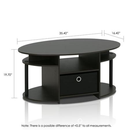 Furinno JAYA Simple Design Oval Coffee Table with Bin, Walnut