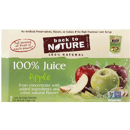 Back to Nature 100% Apple Juice, 6 fl oz, 8 count, (Pack of