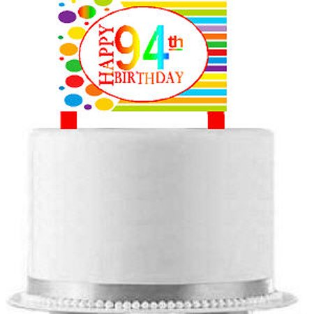 CakeSupplyShop ItemAE 095 Happy 94th Birthday Rainbow Elegant Cake Decoration Topper