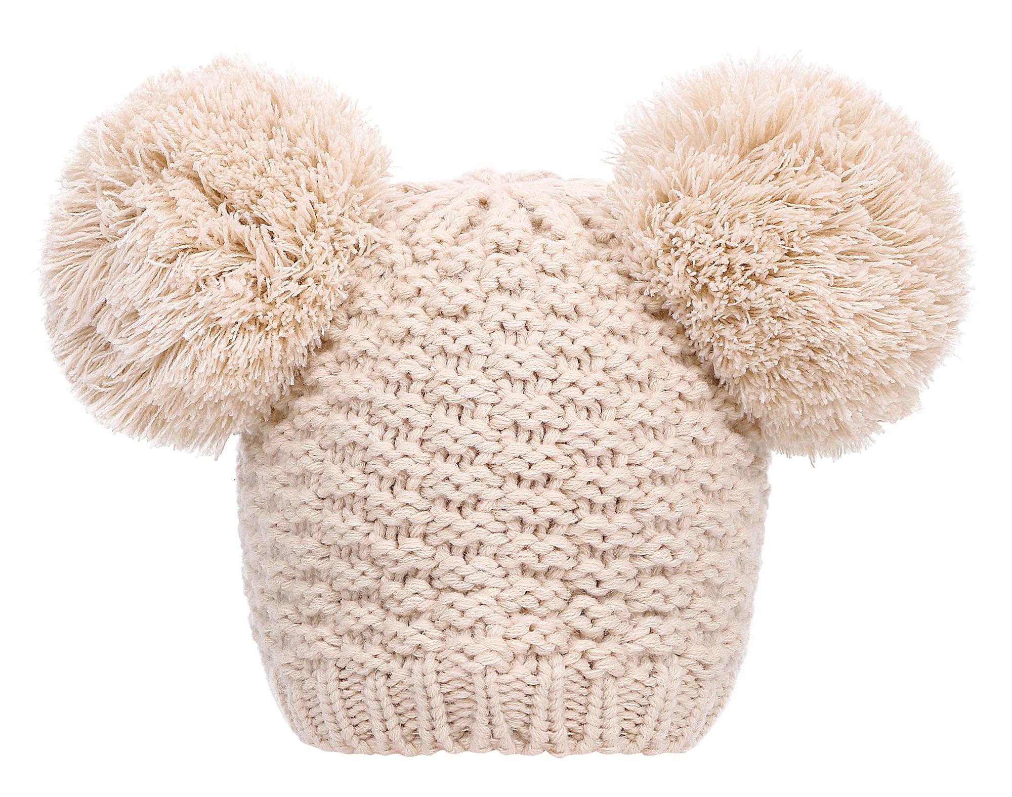 Beige knit cute double pom poms beanie