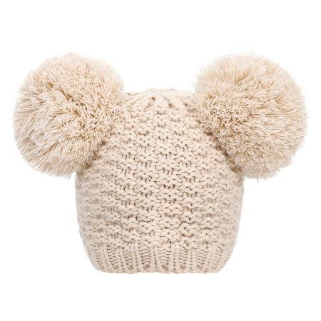 Women's Cute Winter Warm Knit Double Beanie Hat with Pom Pom Ears, - Cute Sailor Hats