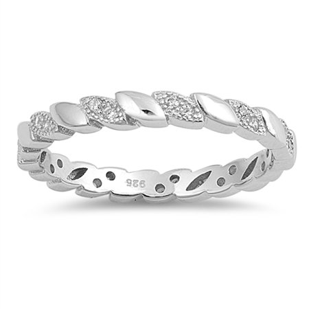 Sterling Silver Flower Vine - Clear CZ Leaf Vine Eternity Thumb Ring New .925 Sterling Silver Band Rings by Sac Silver (Size 10)