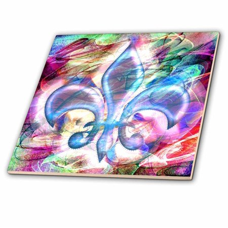 3dRose Fleur De Lis Abstract Art - Ceramic Tile, (Fleur De Lis Ceramic Tile)