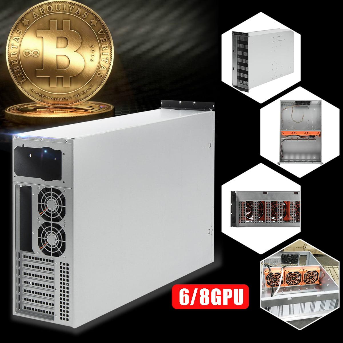 6/8 GPU 4U Miner Mining Rig bitcoinminingmachine Case Machine Coin Open Air Frame For Bitcoin Support 5 Fans