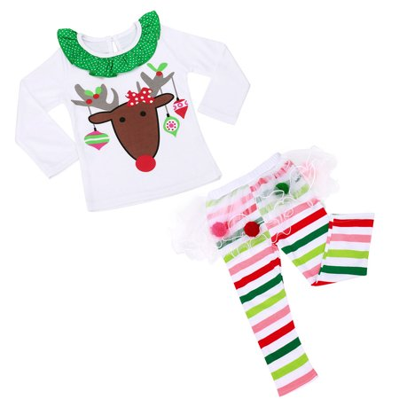 Baby Girls Christmas Infant Toddler Santa Elk Cake Dress 2 Pieces 80CM ()