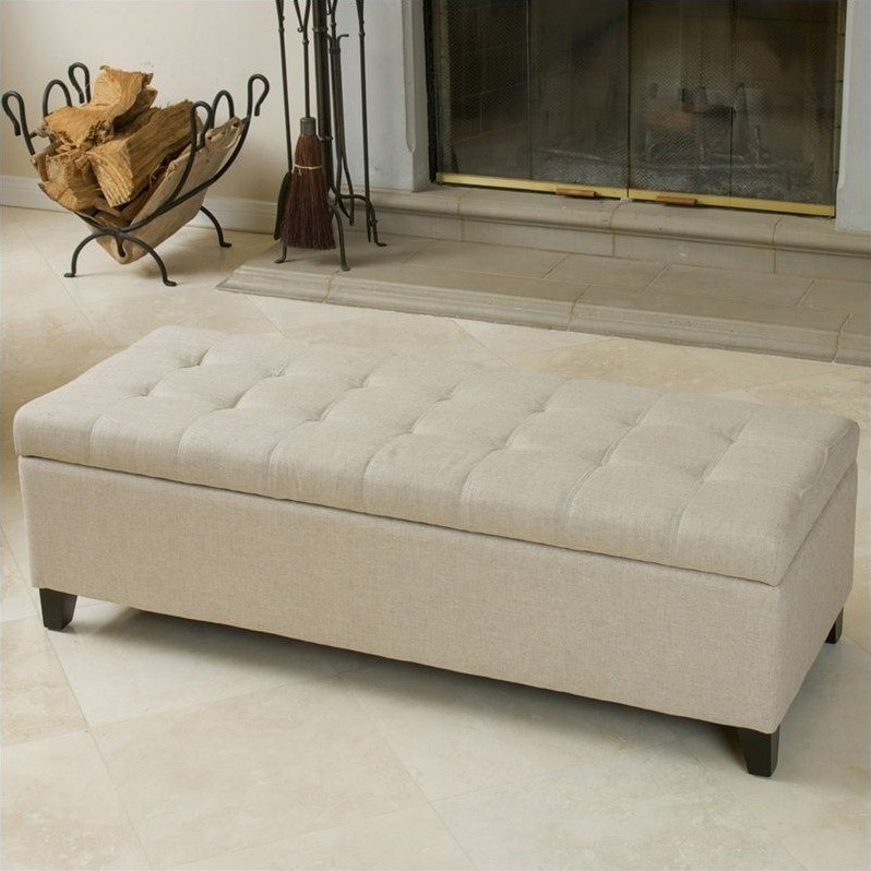Trent Home Guadaloupe Storage Ottoman Bench in Beige