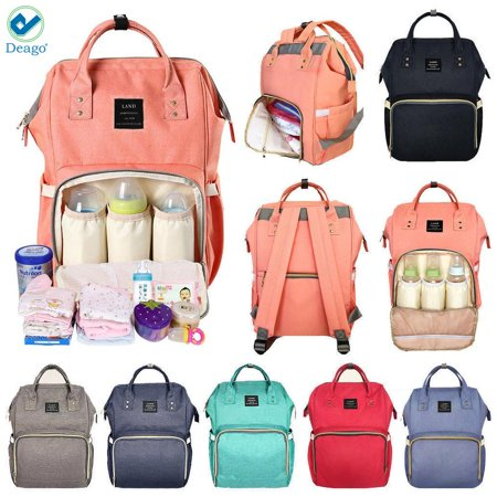 Deago Waterproof Backpack Mummy Bag Baby Water Feeding Bottle Portable Diaper Bag Computer Large Capacity Bag Orange (Best Baby Backpacks 2019)