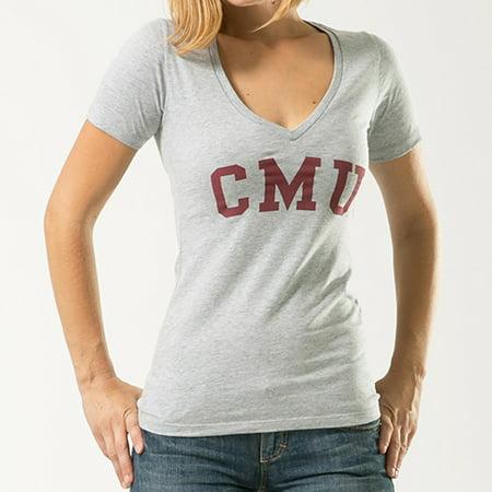 CMU -Central Michigan University, Small, NCAA, Game Day Womens Tee T-shirt, W Republic, Heather Grey