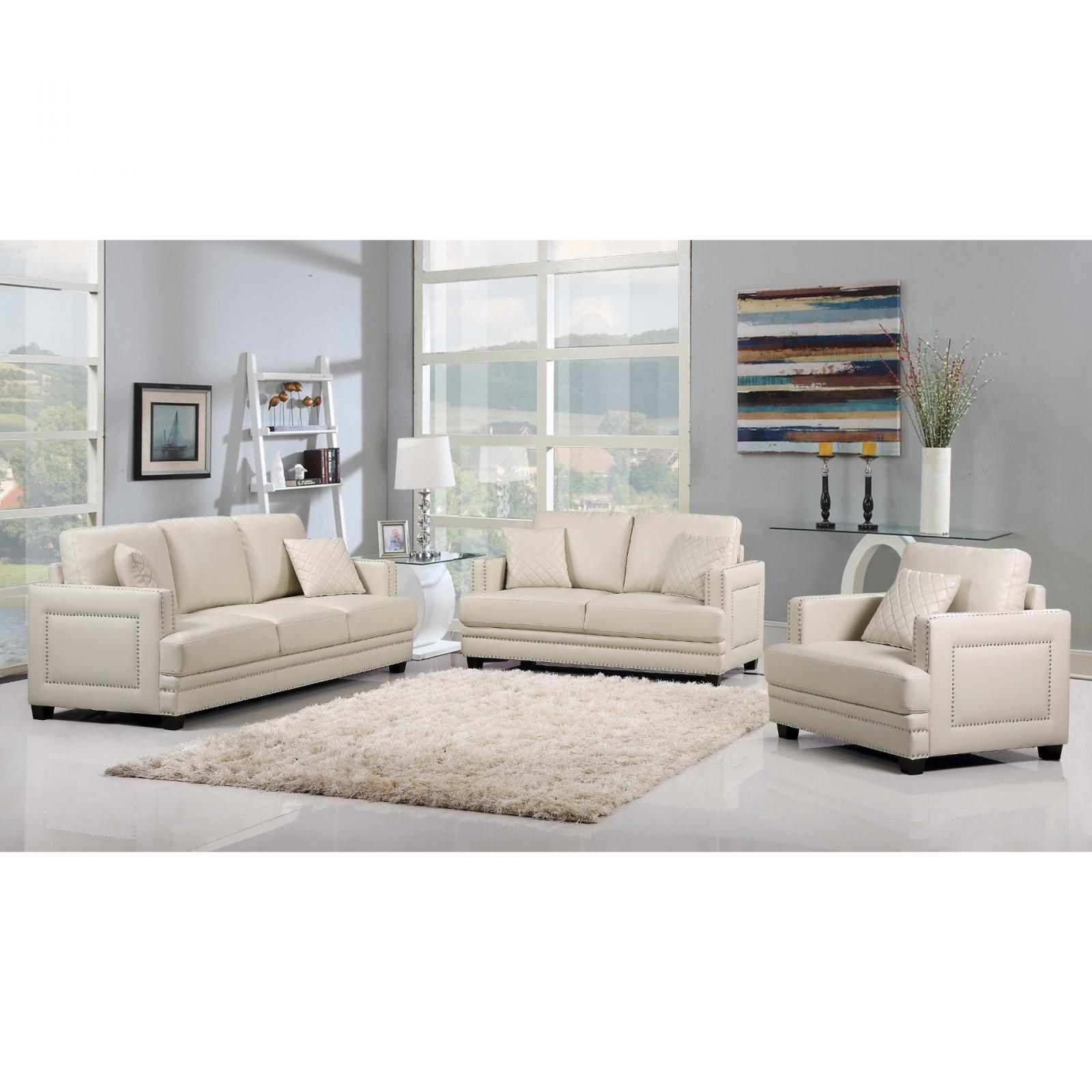 Meridian 655 Ferrara Living Room Set 3pcs in Beige Bonded Leather Contemporary