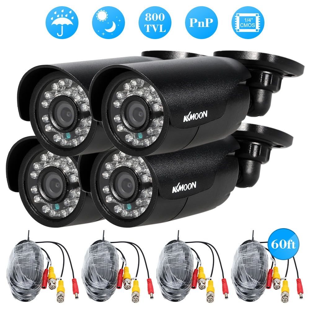 KKmoon 4pcs 800TVL CCTV Outdoor Camera Set IR CUT Bullet Video Surveillance by KKmoon
