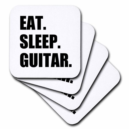 3dRose Eat Sleep Guitar. fun text gifts for guitarist musicians. music player, Soft Coasters, set of 4 Player Gift Set