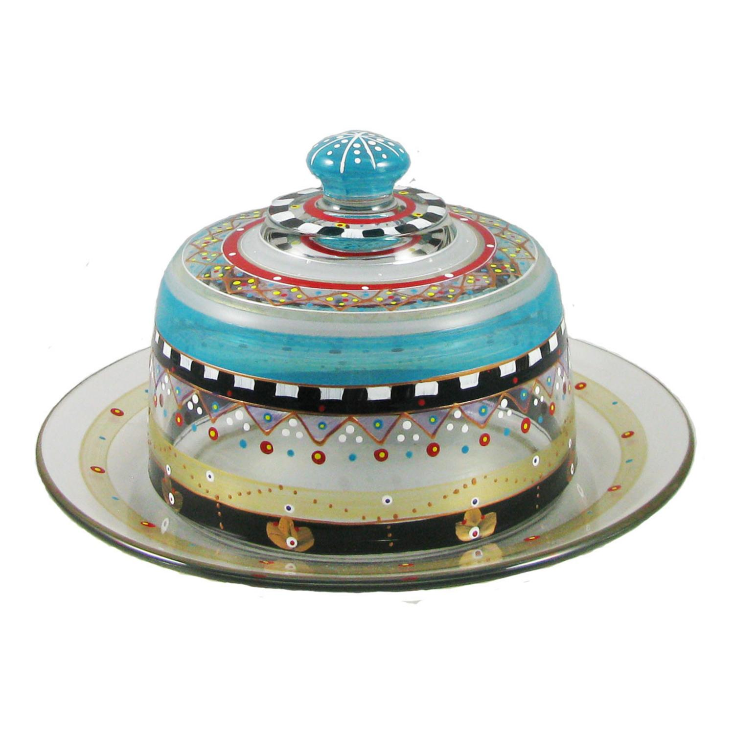 Mosaic Carnival Confetti Hand Painted Glass Cheese Dome with Plate 6""