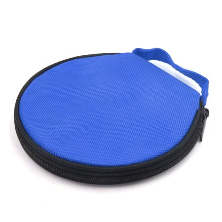 Blue Zipper Closure Round CD Discs Holder Bag Storage Carry Case Wallet for Car