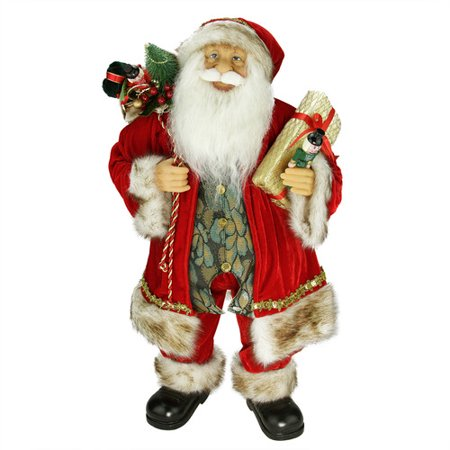 The Holiday Aisle Standing Santa Claus Christmas Figure with Gift Bag and Presents