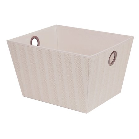 Large Multi-purpose Storage Bin, Arrow Weave Canvas, With Eyelet Handles, Gray