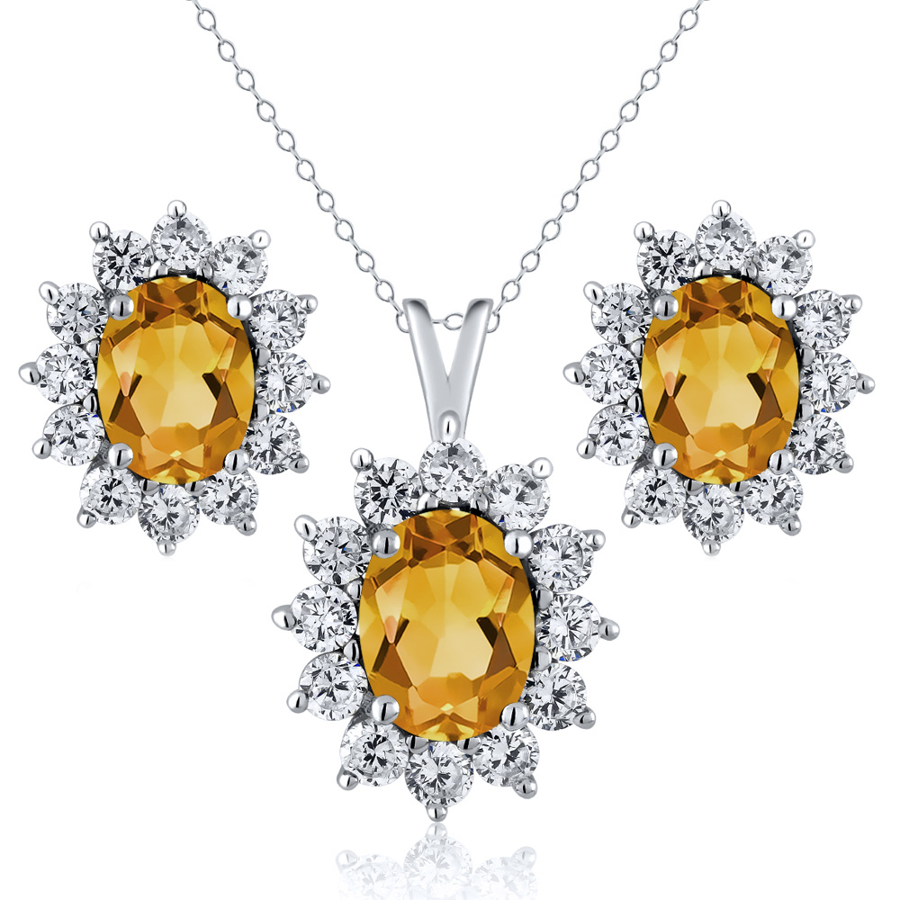 2.50 Ct Oval Yellow Citrine 925 Sterling Silver Pendant Earrings Set by