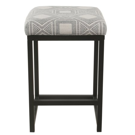 HomePop Open Back Counter Stool - Charcoal Square Geometric