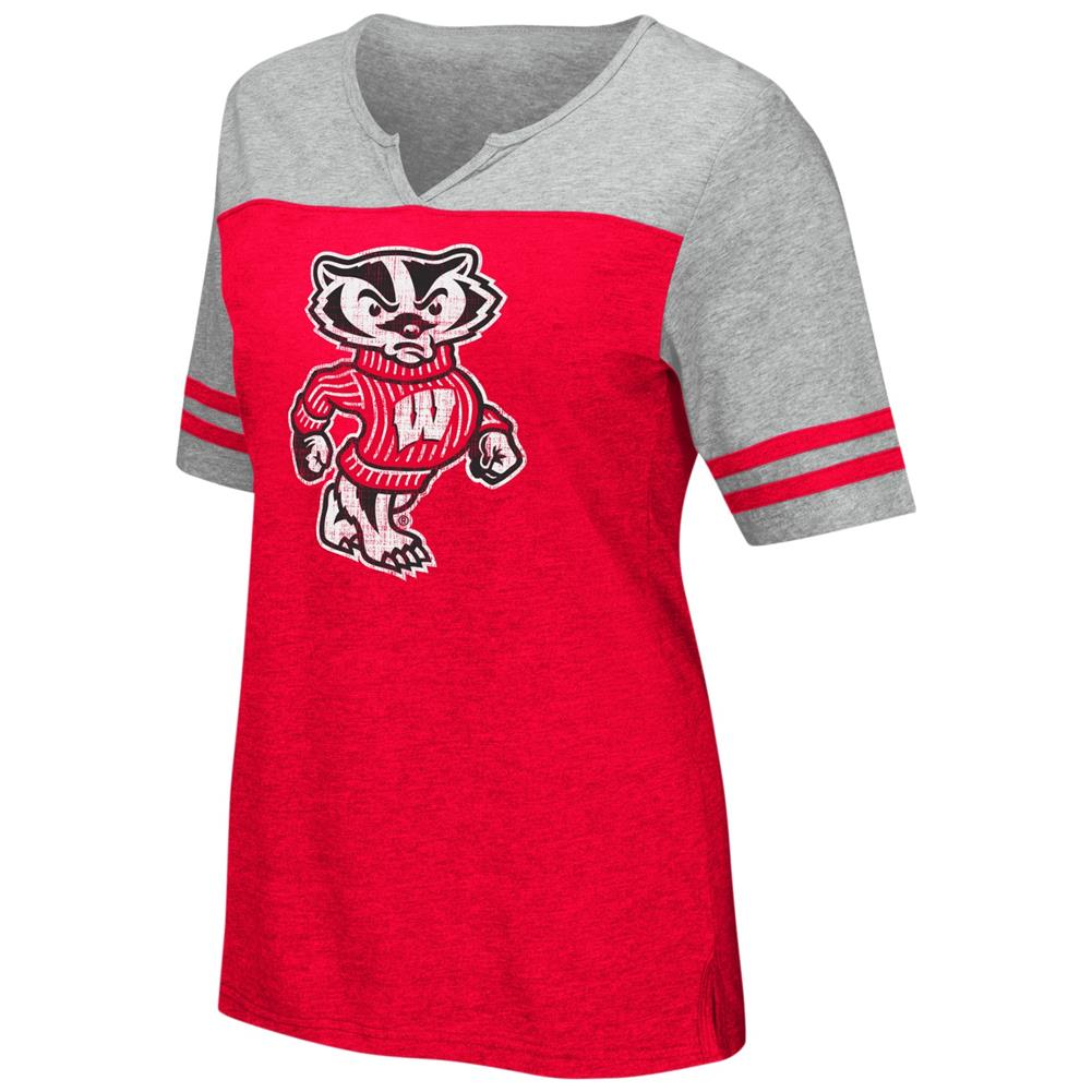 University of Wisconsin Badgers V-Neck Tee On A Break Fashion T-Shirt