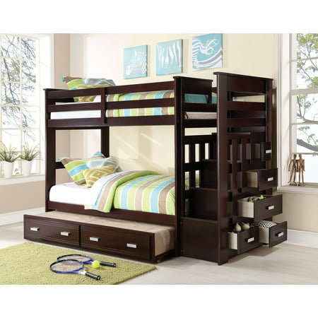 ACME Allentown Twin Over Twin Wood Bunk Bed with Storage, Espresso](Beads For Kids)