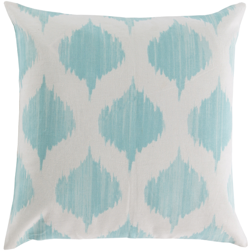 "18"" Ice Blue and Ivory Diamond Puffs Decorative Throw Pillow"