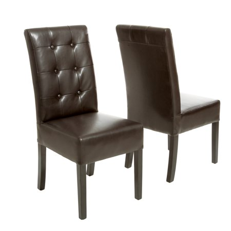 Noble House Jackson Button Tufted Leather Dining Chair (Set of 2)