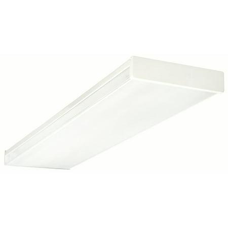 NICOR Lighting 4 Ft. Standard Quad-Lamp 32-Watt T8 Fluorescent Wraparound Ceiling Fixture with Clear Prismatic Acrylic Lens - Clear Prismatic Lens