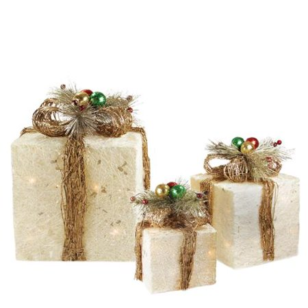 Set of 3 sparkling champagne sisal gift boxes lighted for Sisal decoration