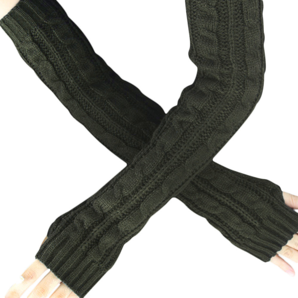 Hemp Flowers Long Fingerless Knitted Gloves