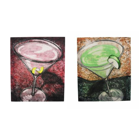 (Apple Martini and Cosmopolitan Cocktail Canvas Wall Art)