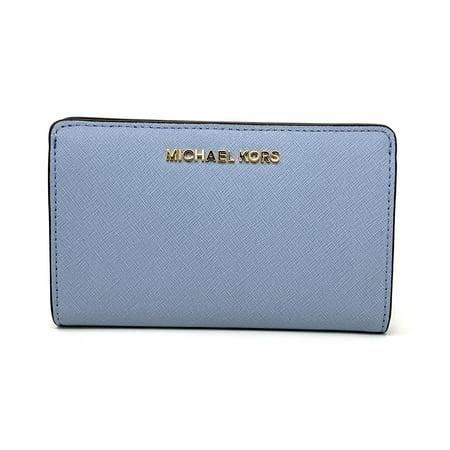 Michael Kors Jet Set Travel Slim Bifold Saffinao Leather Wallet, Pale Blue Blue Leather Wallet