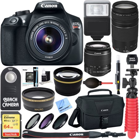 Canon T6 Eos Rebel Dslr Camera W  Ef S 18 55Mm Is Ii   75 300Mm Iii Lens Kit   Accessory Bundle 64Gb Sdxc Memory   Slr Photo Bag   Wide Angle Lens   2X Telephoto Lens   Flash   Remote   Tripod   More