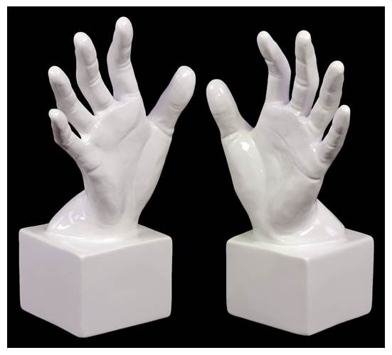 2-Pc Open Palm Bookend Set in Gloss White by Urban Trends Collection