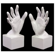 2-Pc Open Palm Bookend Set in Gloss White