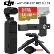 DJI Osmo Pocket Gimbal with Essential Phone Holder Accessory Bundle – Includes: SanDisk Extreme 32GB microSDHC Memory Card + Phone Holder Bracket + Pistol Grip/Tabletop Tripod + Dust Blower + MORE