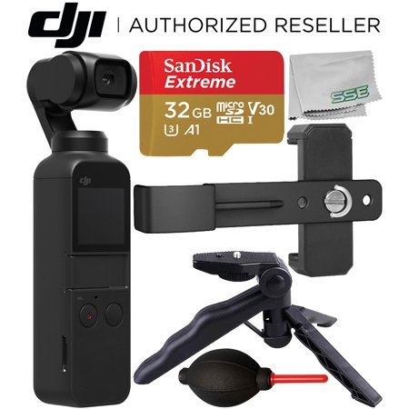 DJI Osmo Pocket Gimbal with Essential Phone Holder Accessory Bundle – Includes: SanDisk Extreme 32GB microSDHC Memory Card + Phone Holder Bracket + Pistol Grip/Tabletop Tripod + Dust Blower +