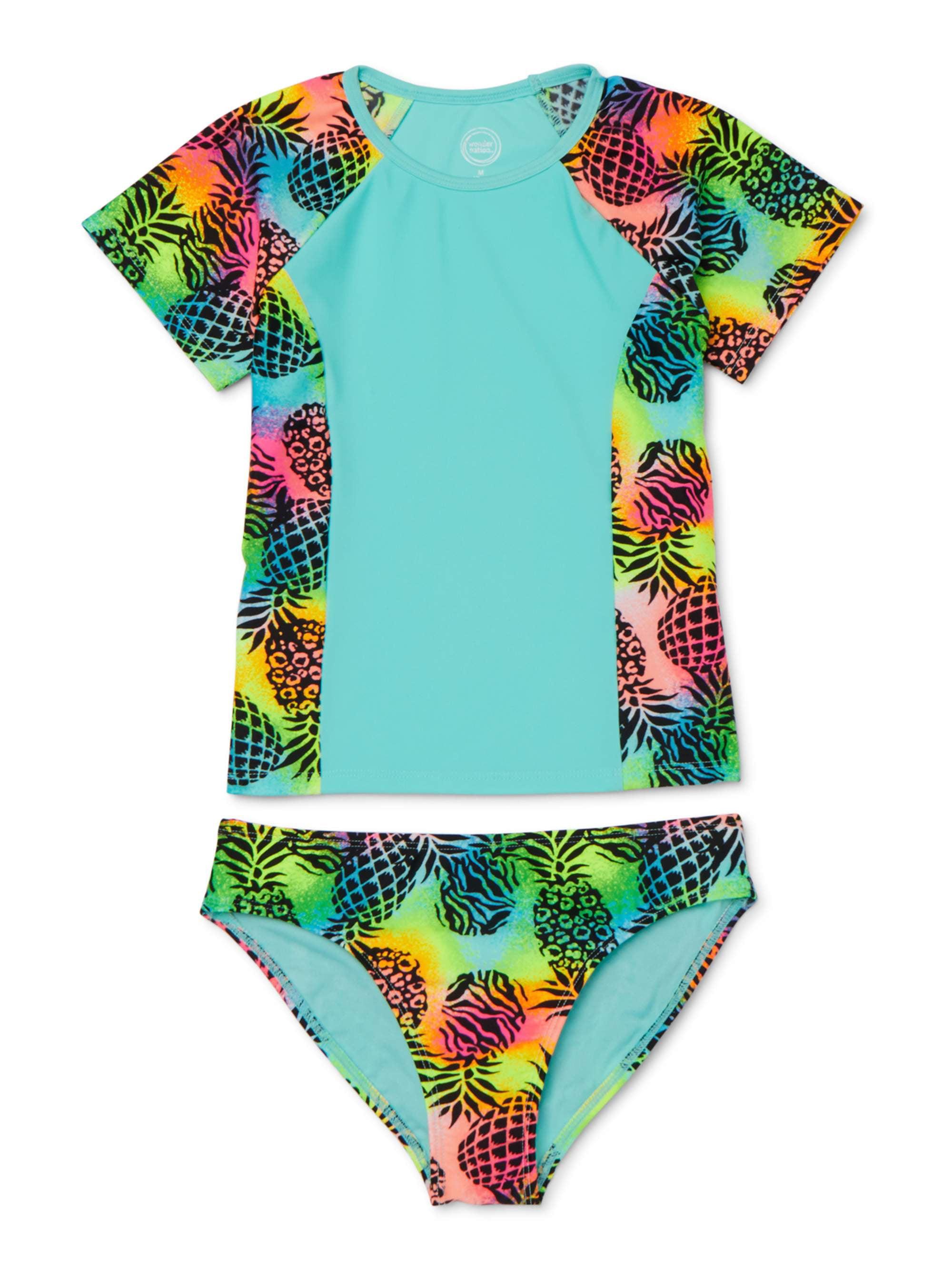 Baby//Toddler Girl Swimsuit Rashguard Bikini Beach Striped Stitching One-Piece Swimsuit Swimwear Set
