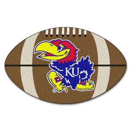 Kansas Jayhawks Mat - NCAA University of Kansas Jayhawks Football Shaped Mat Area Rug