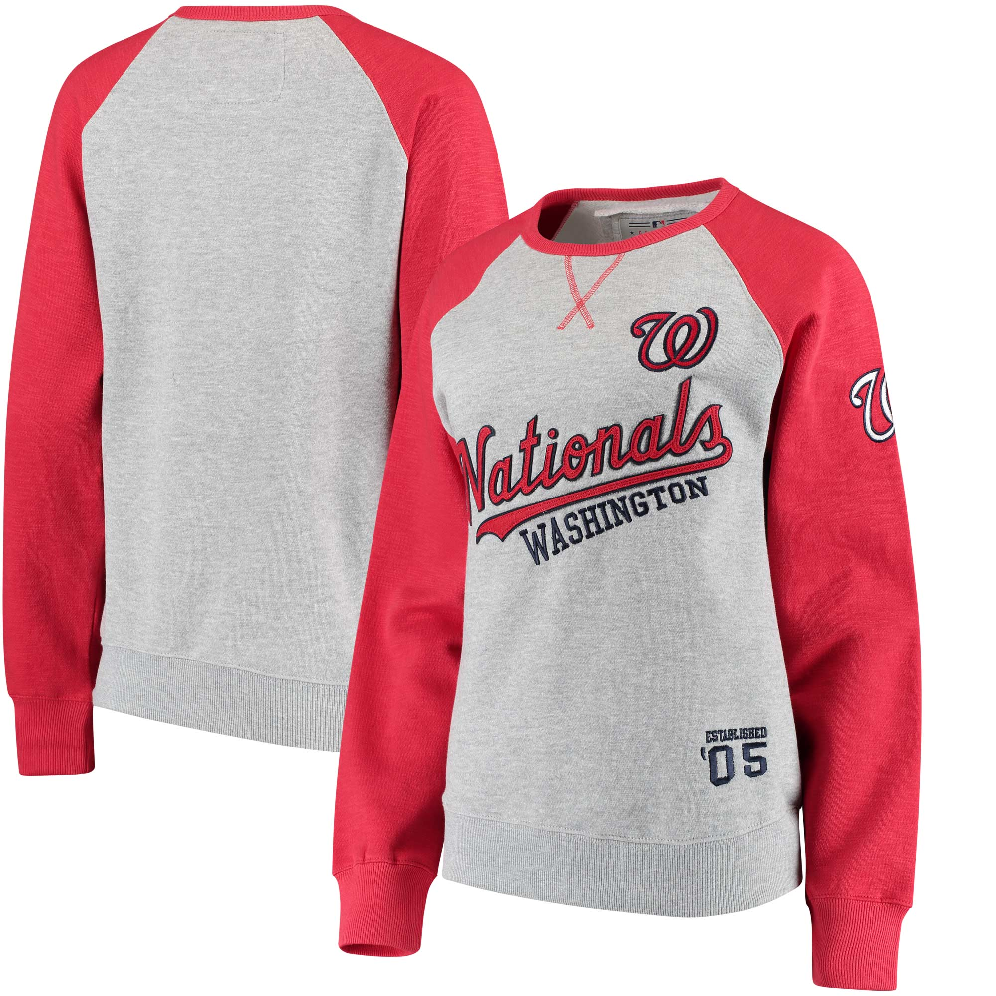 Washington Nationals Soft as a Grape Women's Biowashed Dugout Fleece Crew Neck Sweatshirt - Gray/Red