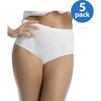 Just My Size Women's Plus Tagless Cotton Brief Panties 5-Pack