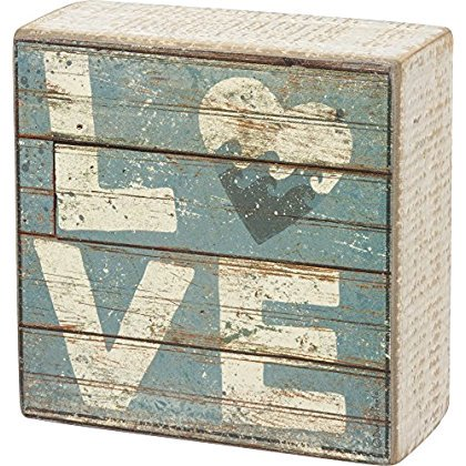 Love - Aqua Marine Mini Beach Plankboard Print Sign with Heart - 4-in ()