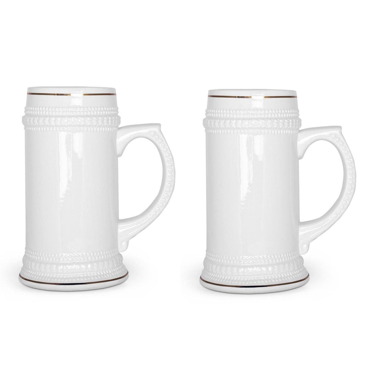 2 Pack Ceramic 20 Oz. Stein Pub Beer Mug Ceramic tankard Beer Mugs by Overstock