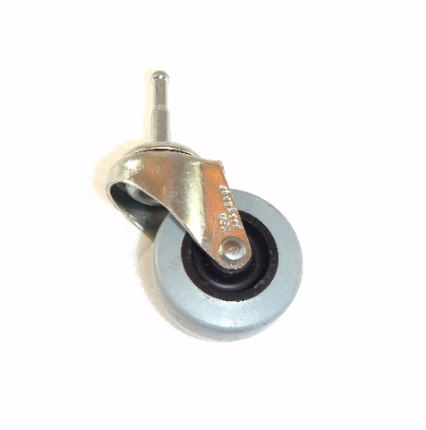 """One Shepherd Swivel Caster with 2"""" TPR Wheel and 5/16"""" Wood Grip Stem"""