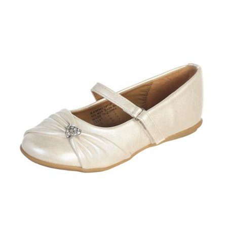 Ivory Rhinestone Toddler Girls Flat Dress Shoes 5-10
