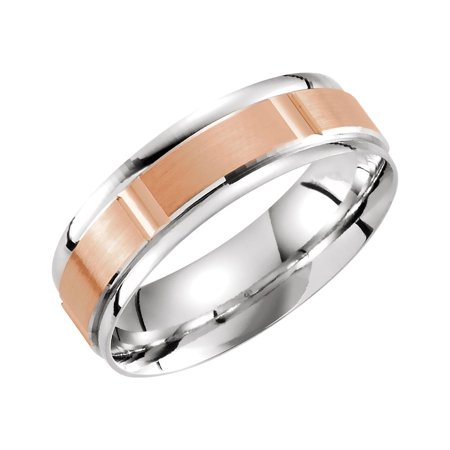 14K White and Rose Solid Gold 6 mm Lightweight Grooved Wedding Band Ring Size 10