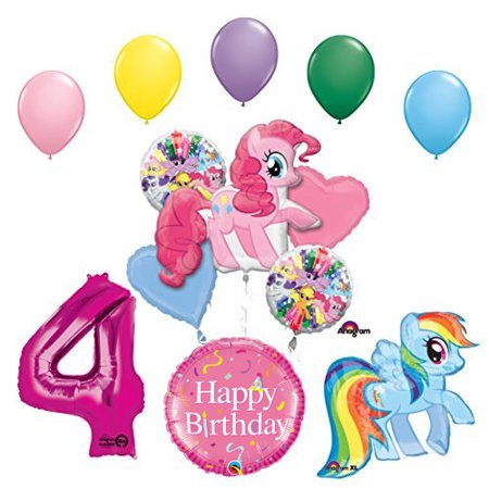 Pony Decorations Birthday Party (My Little Pony Pinkie Pie and Rainbow Dash 4th Birthday Party Supplies and Balloon)