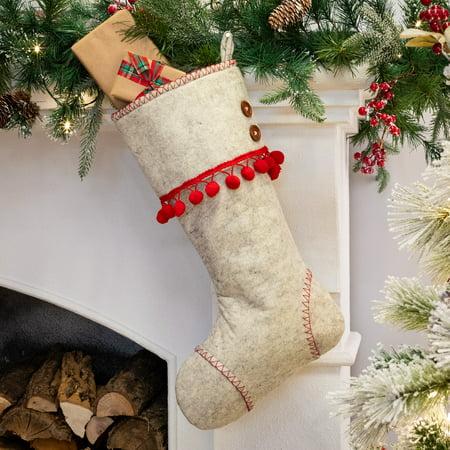 Belham Living Red Pom-Pom Scandinavian Felt Christmas Stocking, 18.5