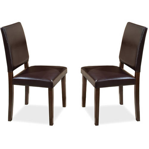 Imagio Home Lofts Collection Faux Leather Parsons Side Chairs, Set of 2, Chocolate